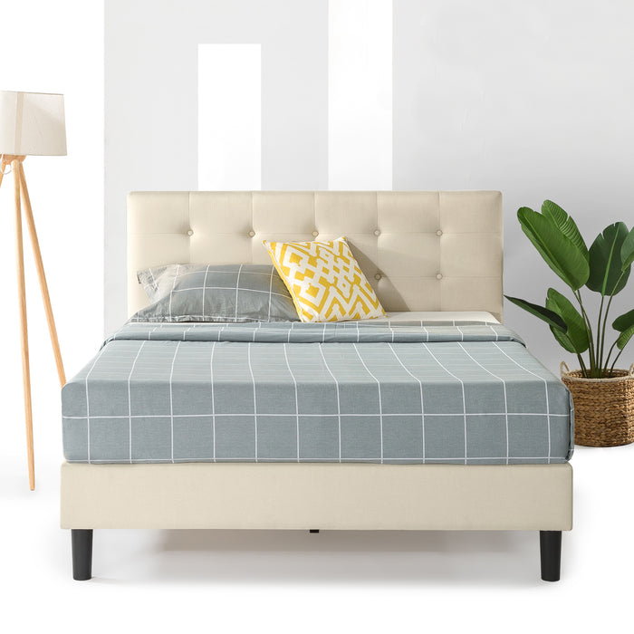 "13"" Liz Upholstered Platform Bed with Tufted Headboard and Wooden Slats - bpmatt"