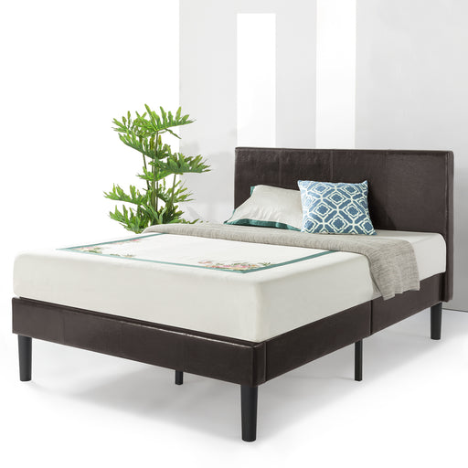 "17"" Agra Grand Upholstered Faux Leather Platform Bed with Headboard & Wooden Slats - bpmatt"