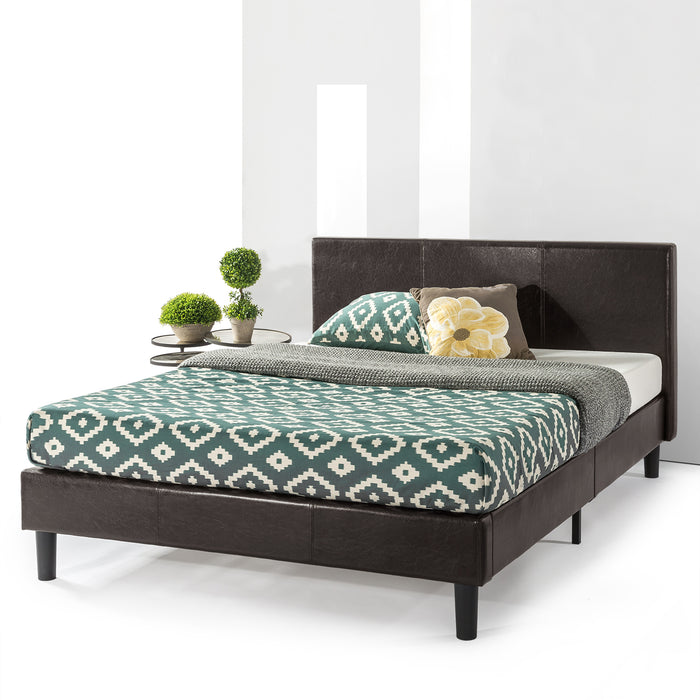 "13"" Agra Upholstered Faux Leather Platform Bed with Headboard and Wooden Slats - bpmatt"