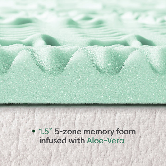 "1.5"" 5-Zone Memory Foam Topper with Aloe Infusion - bpmatt"