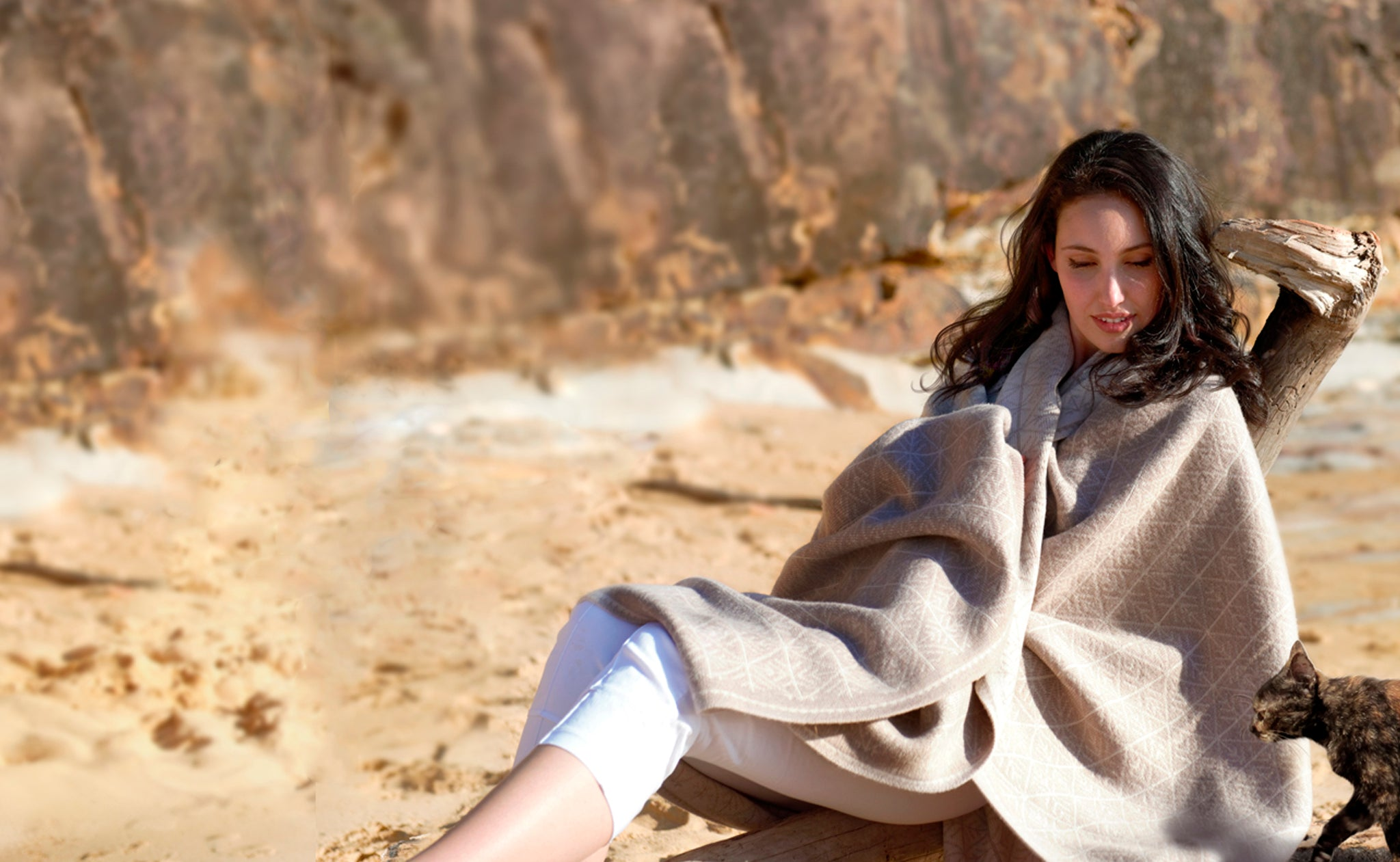Merino Wool Blanket, Sandy Beaches