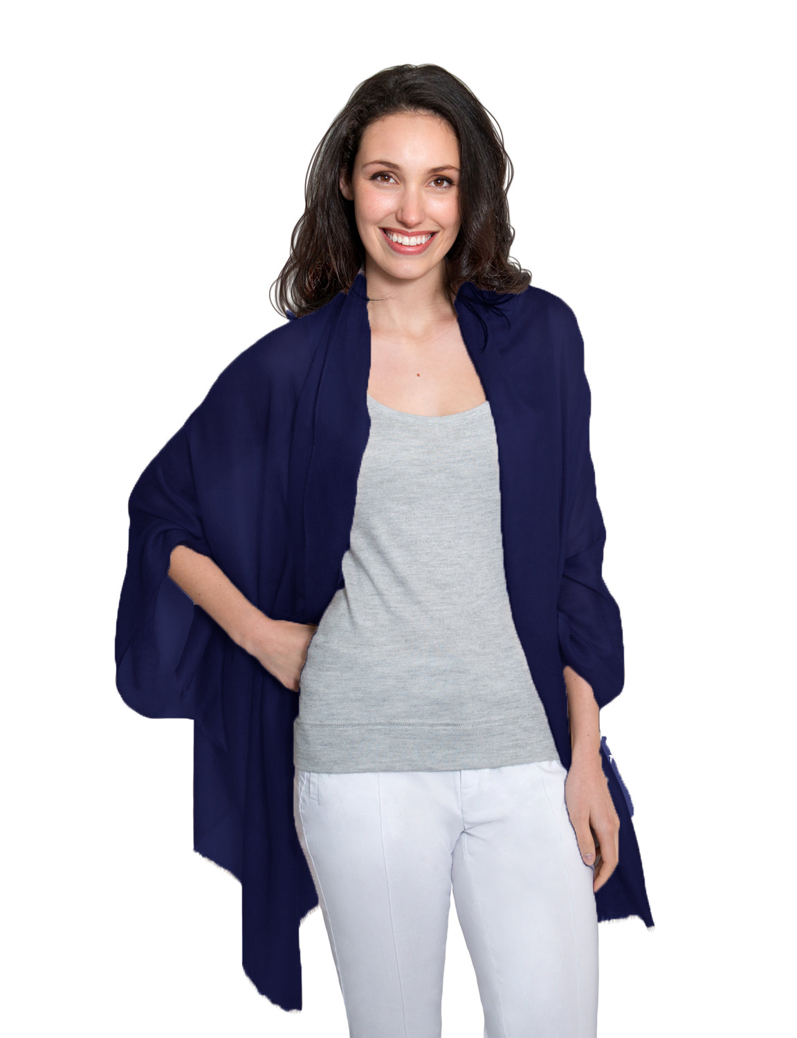 Cashmere Pashmina - Navy - Blankets & Throws