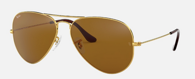 Rayban Aviator Gold Metal Frame with Classic B-15 Brown Lens (RB 3025) - Shop Escape Outdoors