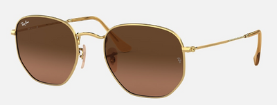 Rayban Hexagonal Flat Lenses Gold Frame with Brown Gradient Lens (RB 3548) - Shop Escape Outdoors
