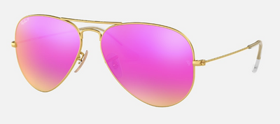 Rayban Aviator Flash Lens with Gold Frame and Fucsia Lens (RB 3025) POLARIZED - Shop Escape Outdoors