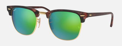 Rayban Clubmaster Green Flash Lens Tortoise and Gold Frame (RB 3016) - Shop Escape Outdoors