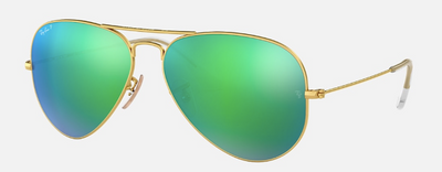 Rayban Aviator Flash Lens with Gold Frame and Green Lens (RB 3025) POLARIZED - Shop Escape Outdoors