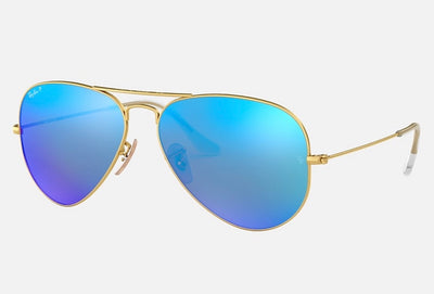 Rayban Aviator Gold Frame With Blue Flash Lenses (RB 3025) POLARIZED - Shop Escape Outdoors