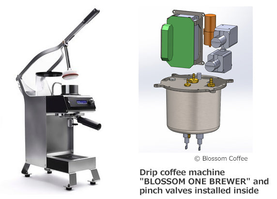 BLOSSOM ONE BREWER and takasago pinch valves inside