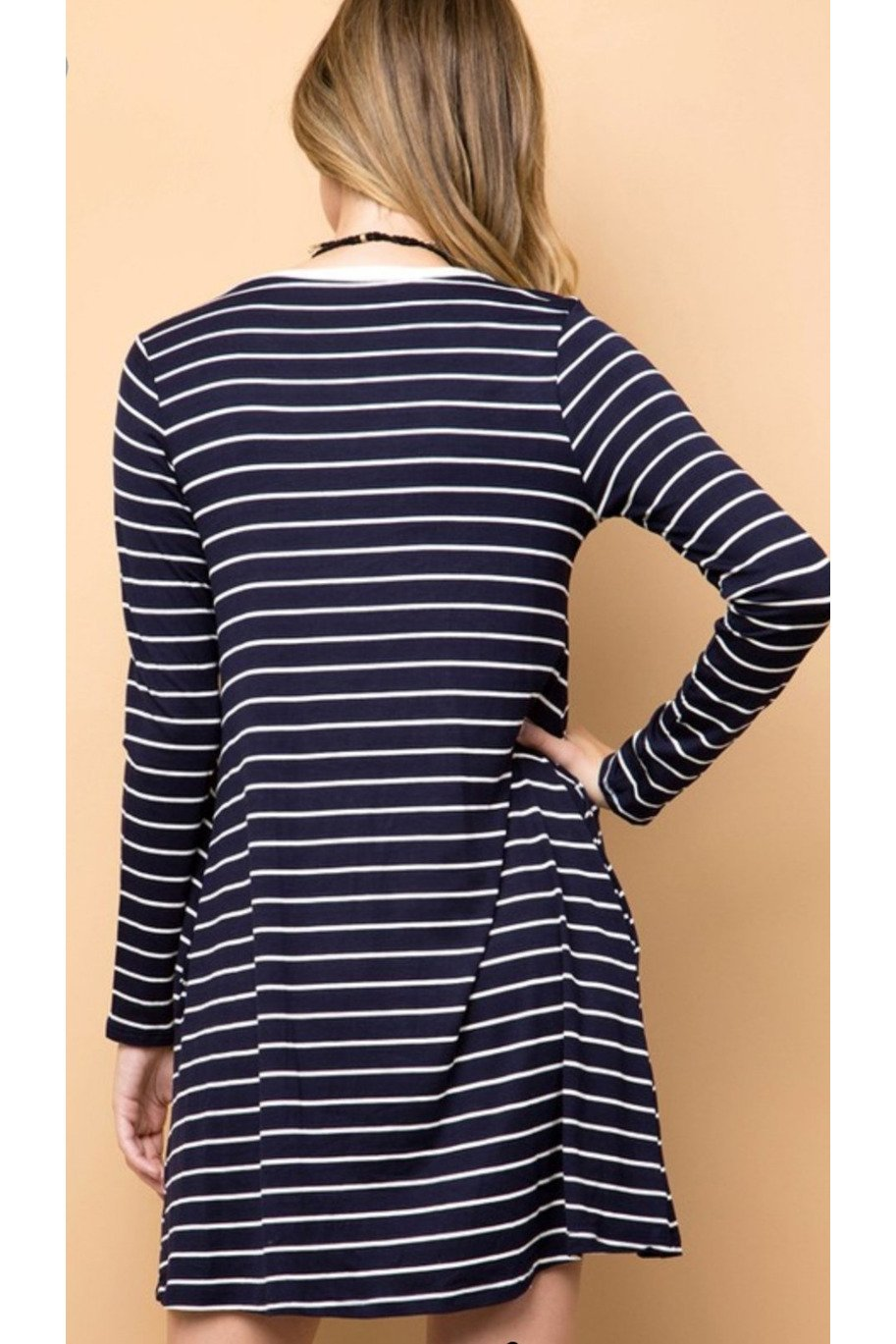 Christa striped dress in navy *Final Sale*