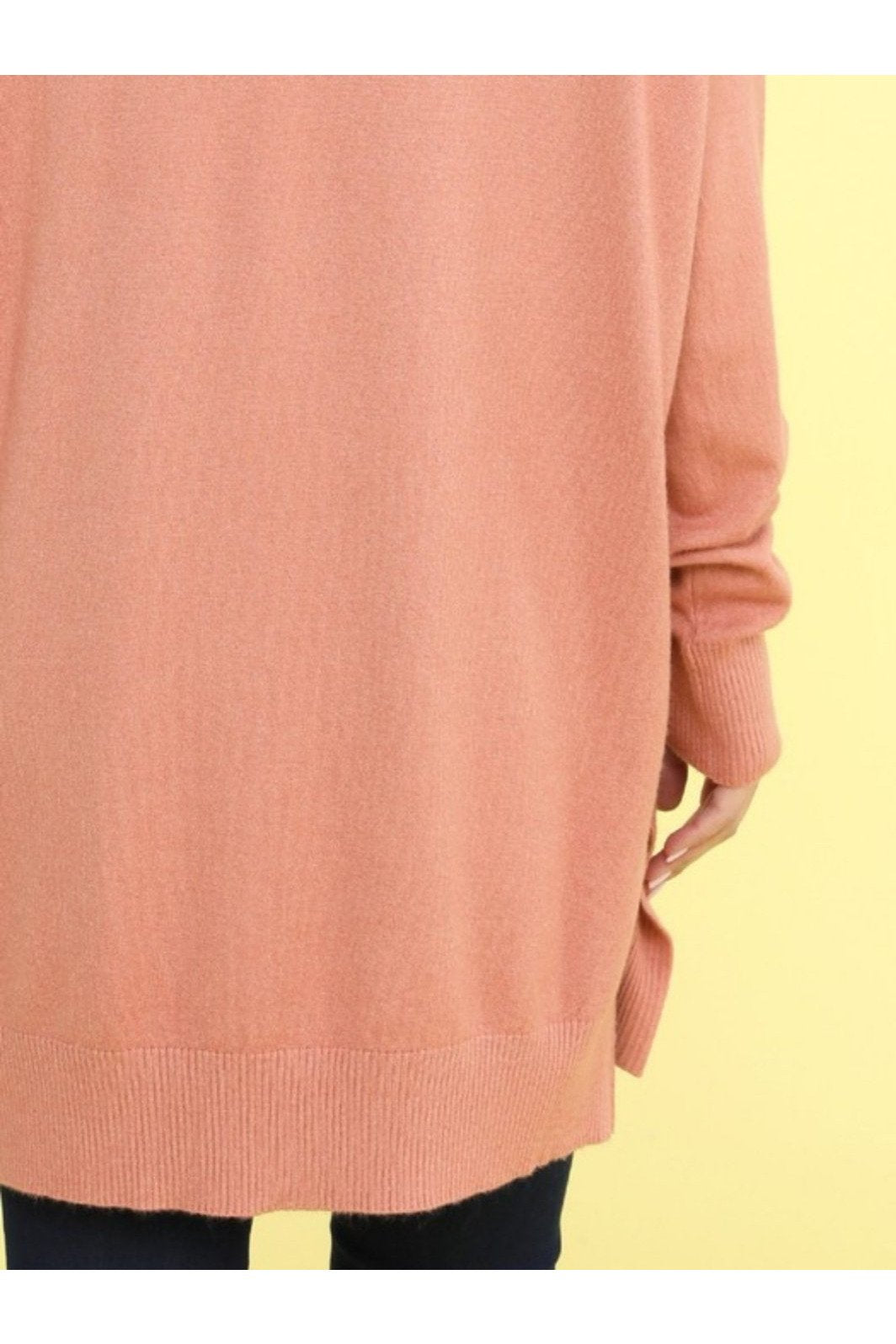Tanya v-neck tunic sweater in dusty pink