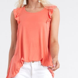 Sienna ruffle detail top in coral