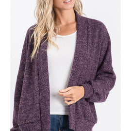 Veronica brushed sweater cardigan in plum