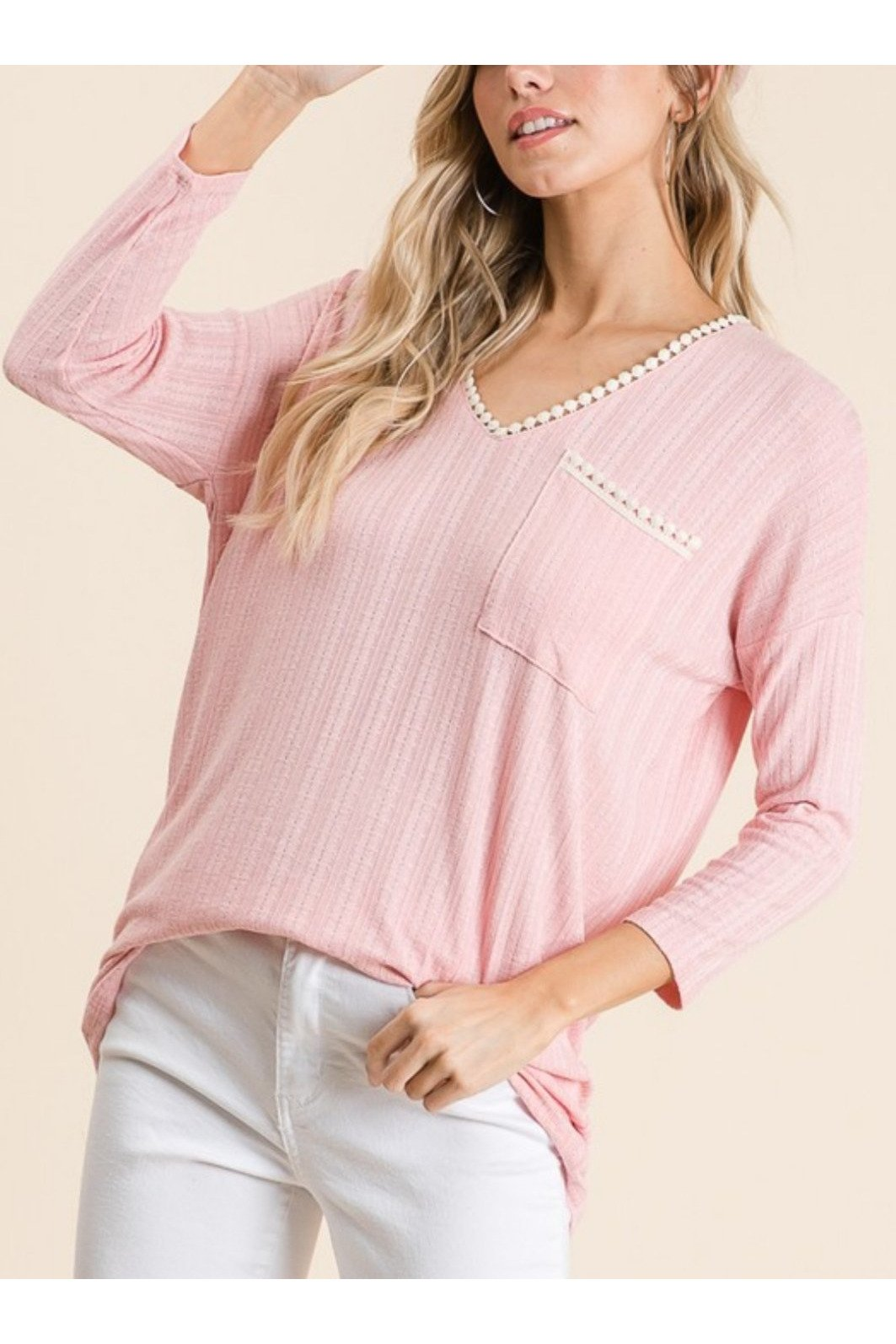 Ariah lace detail top in blush