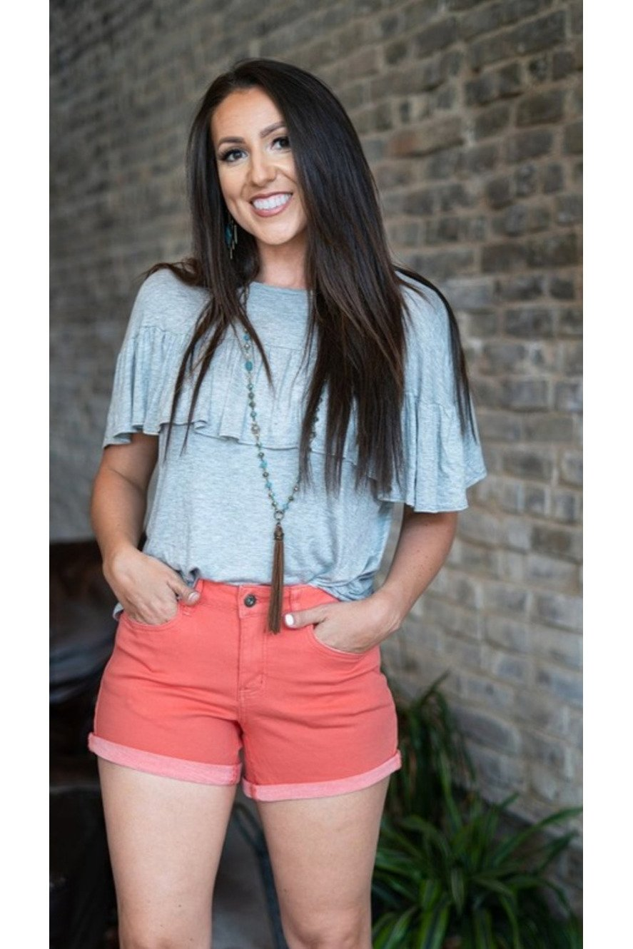 L&B mid rise cuffed shorts in coral