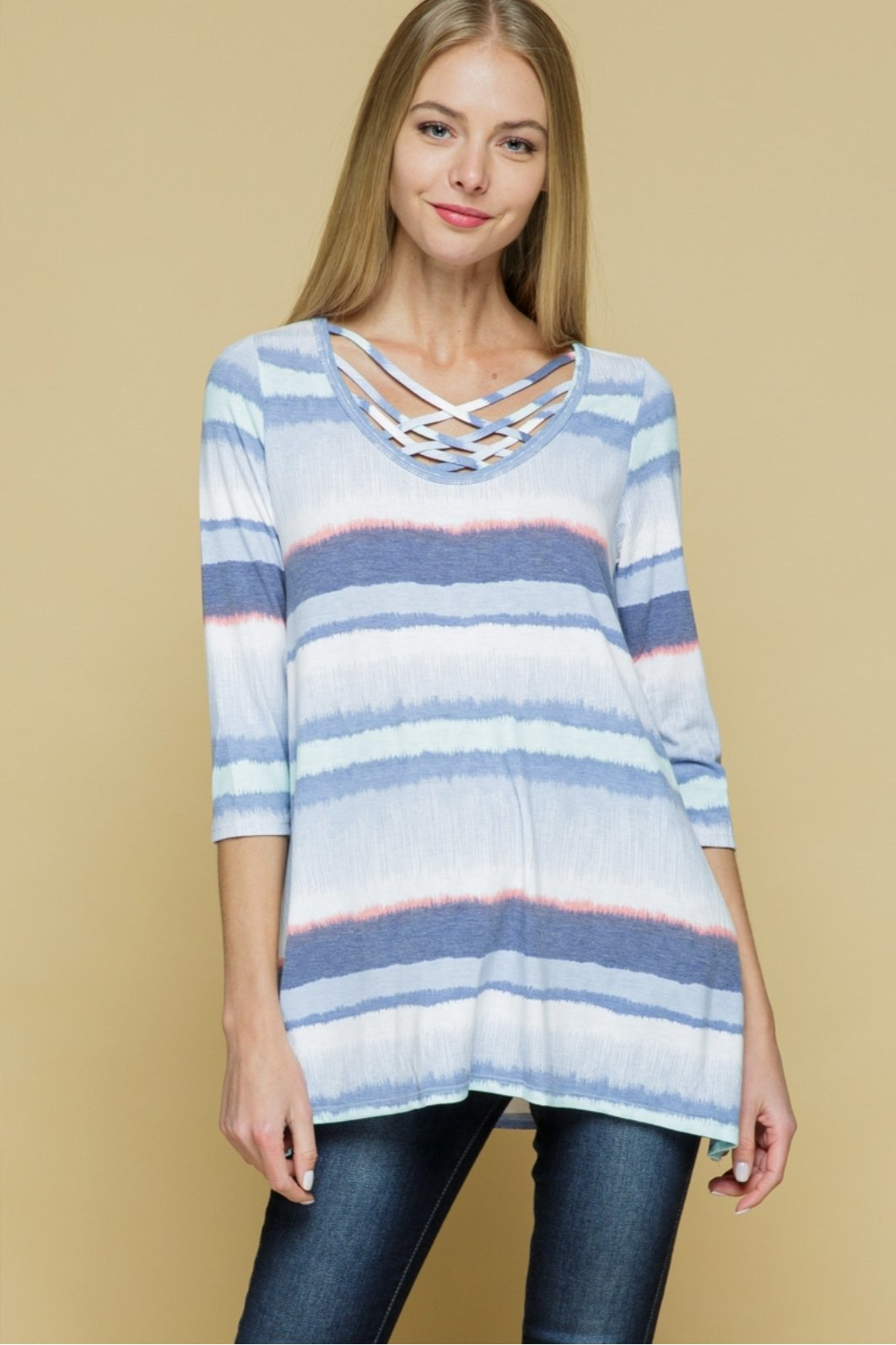 Mariah striped criss cross top
