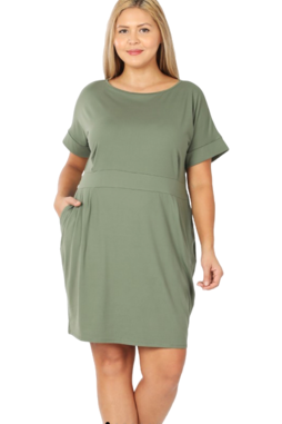 Audrey tie waist dress in olive
