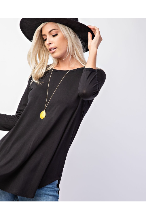 Stella 3/4 sleeve high/low top in black