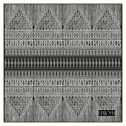full size illustration of a luxury, bespoke, black and white Elwyn New York silk bandana with vintage modern style graphic needlework and crochet print