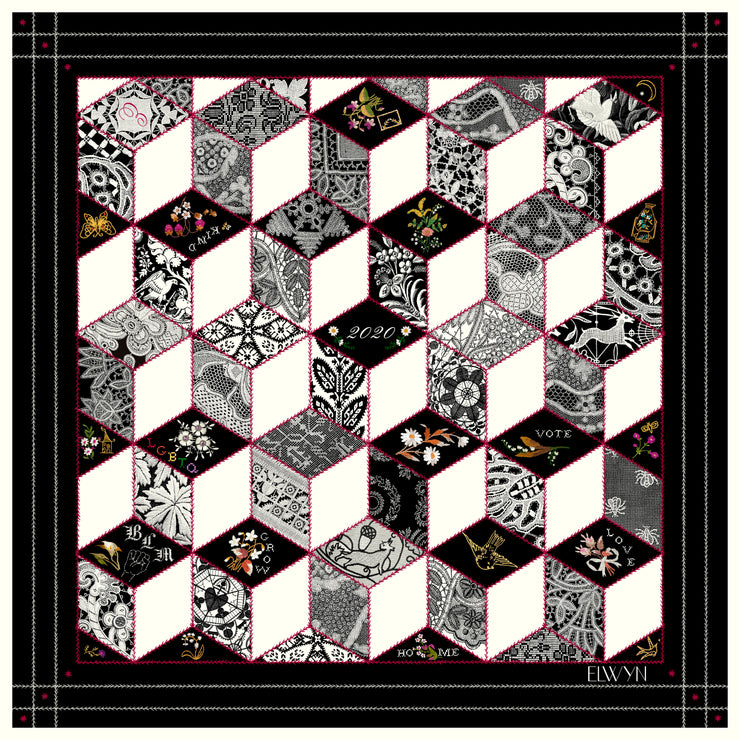 full size illustration of bespoke, luxury Elwyn New York silk scarf. This geometric crazy quilt print is a vintage-modern depiction of the year 2020 filled with digital embroidery and lace of years past