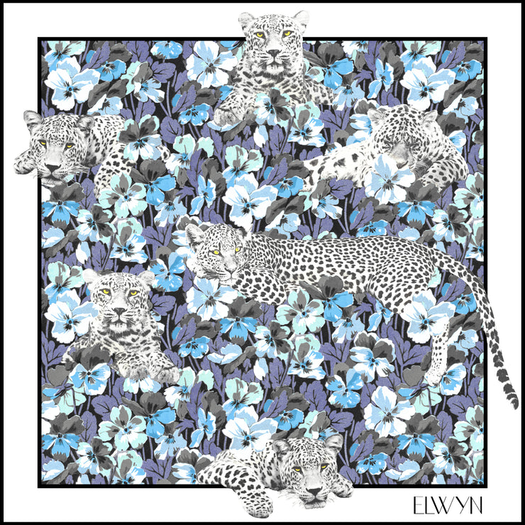 full size illustration of luxury, bespoke Elwyn New York silk bandana with vintage style print of a bluish floral field and modern lazing leopards