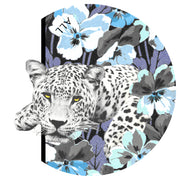 round, closeup illustration of personalized, bespoke Elwyn New York silk scarf with vintage style print of a bluish floral field and modern lazing leopards with an example of customer's initials on it