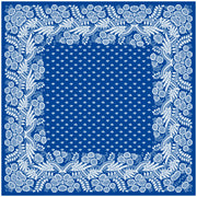 Full size illustration of a bespoke Elwyn New York bandana with an ornate, blue and white, vintage-pastoral bandana design. Classic, feminine, and romantic.