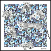 full size illustration of luxury, bespoke Elwyn New York silk scarf with vintage style print of a bluish floral field and modern lazing leopards