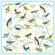Full size illustration of a bespoke Elwyn New York silk scarf with a Charming blue and yellow warbler birds, flying and perched amidst delicate wild flowers.  Inspired by nature found in the North East.