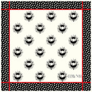 full size illustration of a luxury, bespoke Elwyn New York silk bandana with black and white, whimsical, polka dot, bird and stars, storybook print