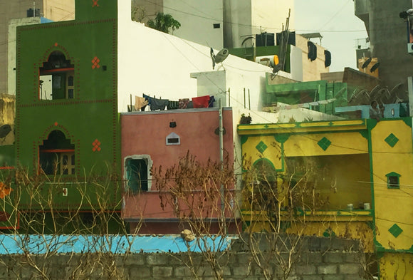 green pink buildings