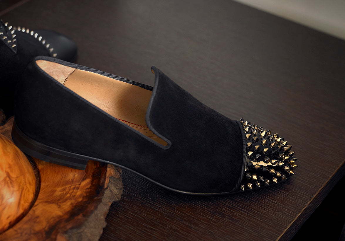 Christian Louboutin Spooky Suede Leather Spikes Loafers<