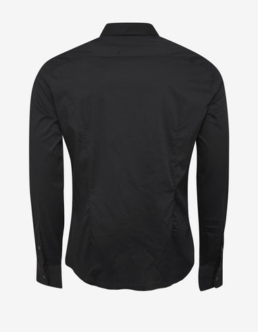 Emporio Armani Black Shirt with Tonal Eagle Logo