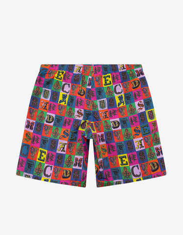 Versace Gym Ornate Lettering Multi Checkerboard Swim Shorts