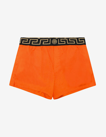 Versace Gym Orange Greek Key Swim Shorts