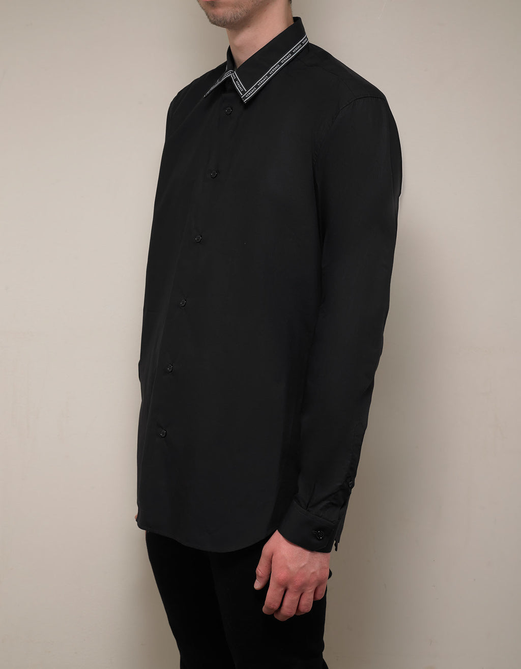 Black Nastro Logo Trim Collar Shirt