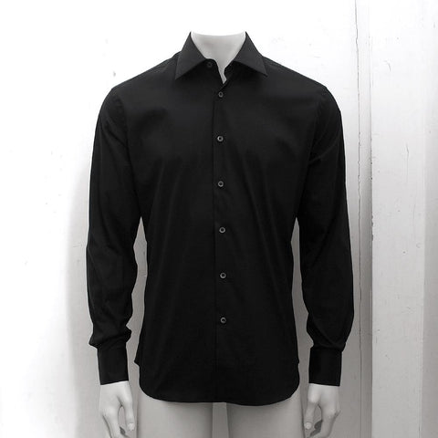 Black Leopard Print Silk Shirt
