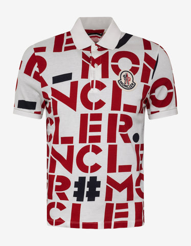 2 Moncler 1952 All-Over Logo Print Polo T-Shirt