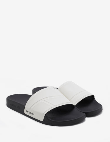 Adidas x Raf Simons Adilette Bunny Cream White & Black Slide Sandals
