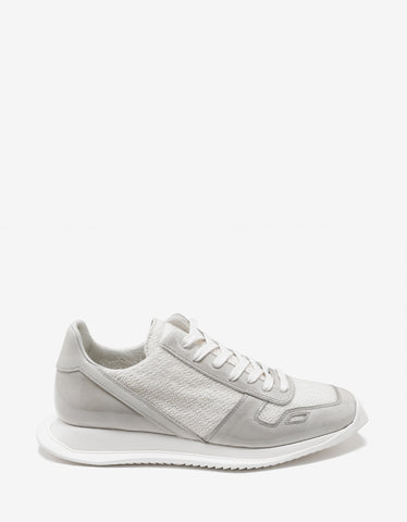 Rick Owens White Panelled Running Trainers