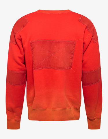 Ambush Orange Bleach Patchwork Sweatshirt
