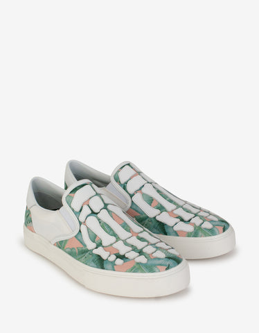 White Palm Tree High Top Trainers