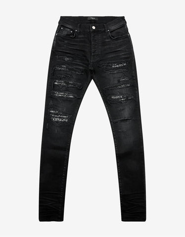 Black Regular Fit Distressed Jeans