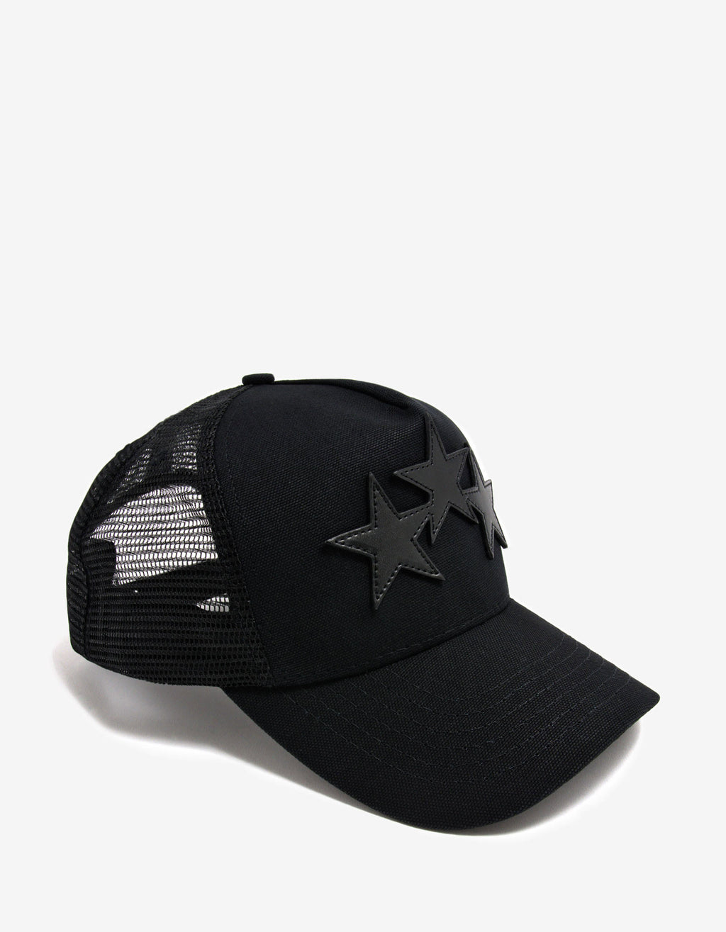 Black 3 Star Trucker Hat
