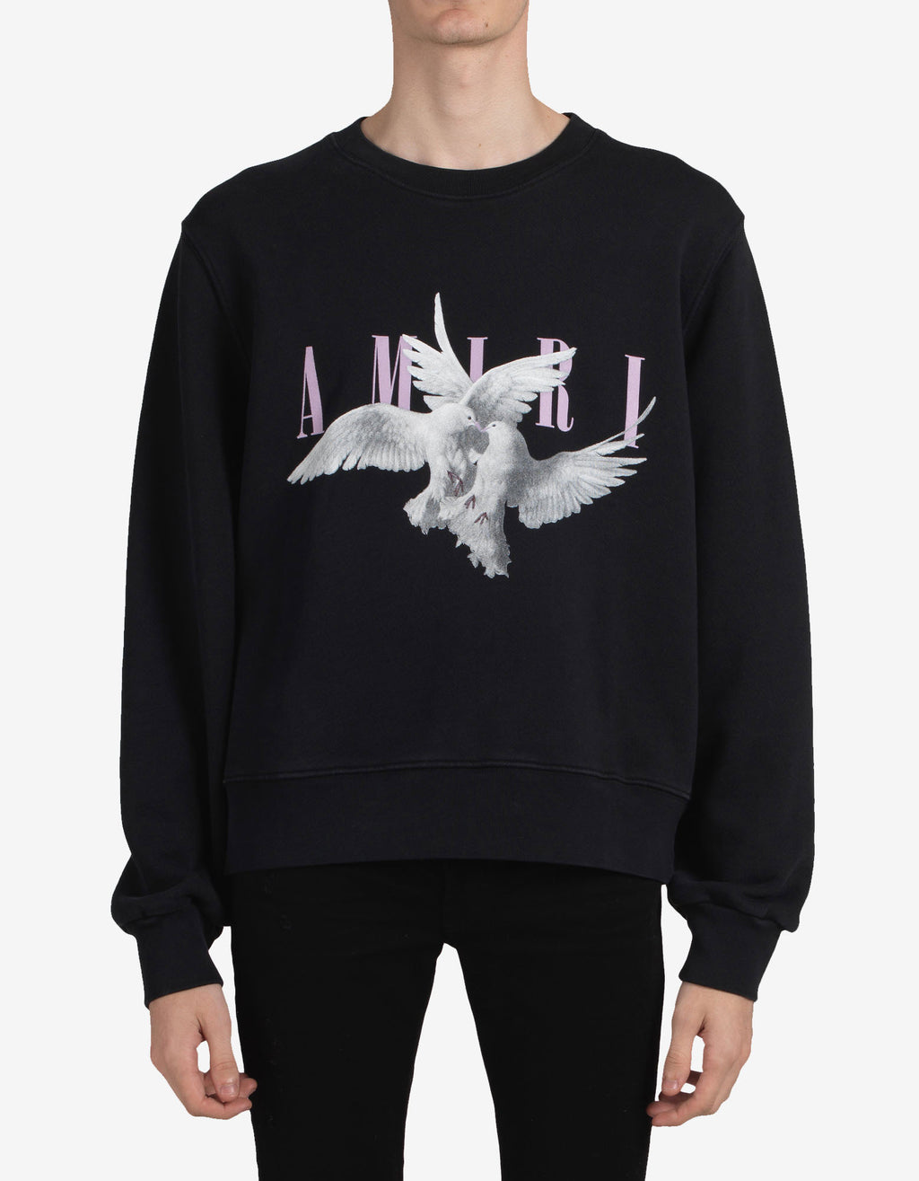 Black Dual Doves Oversized Sweatshirt