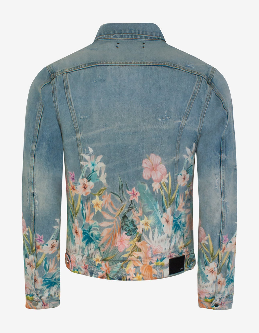 Blue Floral Leaf Trucker Jacket -