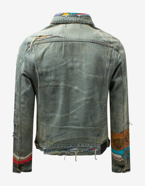 Blue Patch Scarves Trucker Jacket