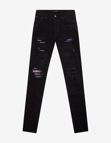 Black B Logo Spray Paint Stripe Jeans