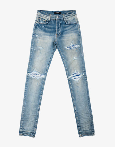 Blue Distressed Denim Jeans