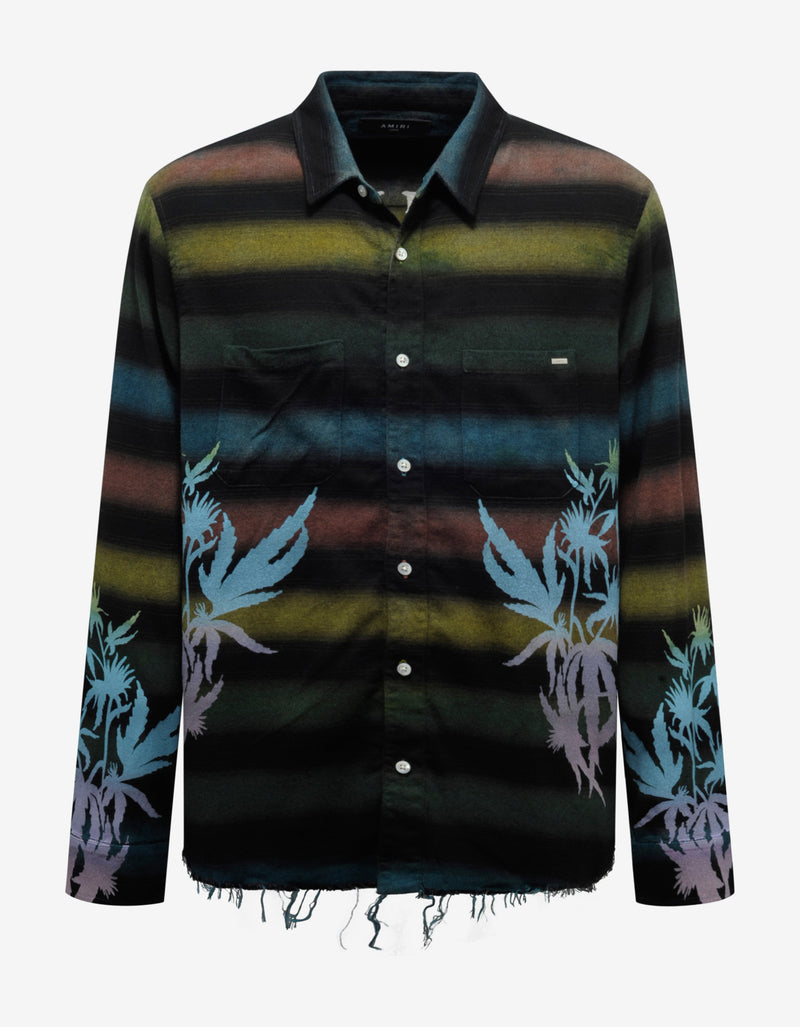 Printed Leaves Horizontal Stripe Flannel Shirt
